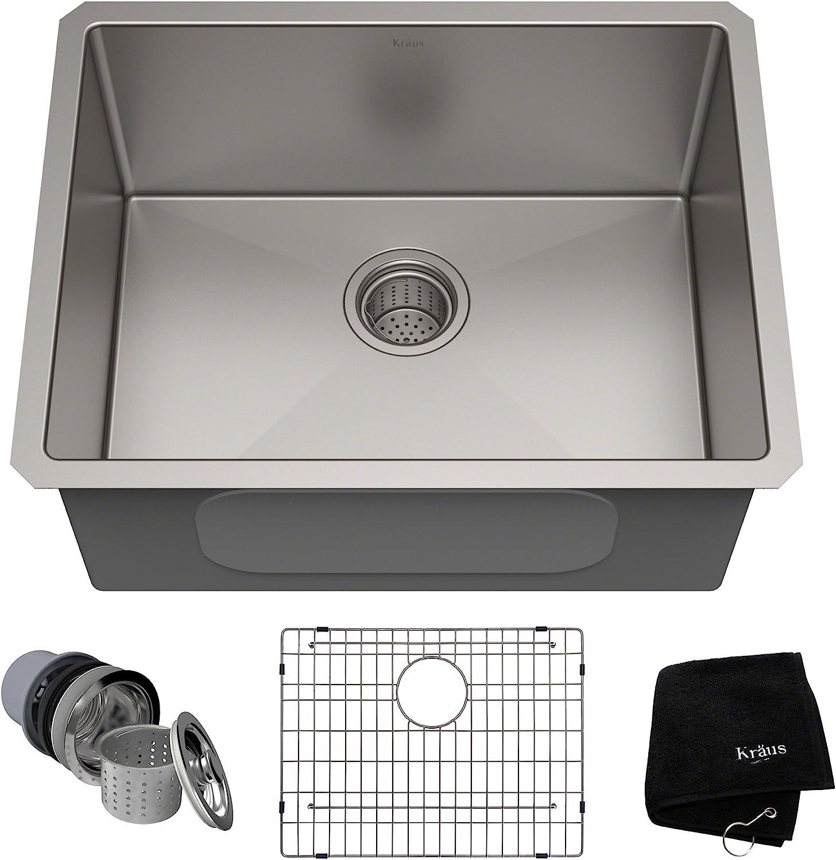 Kraus Standard Pro 23 Inch 16 Gauge Undermount Single Bowl Stainless Steel Kitchen Sink Khu101 23 Amazon Com