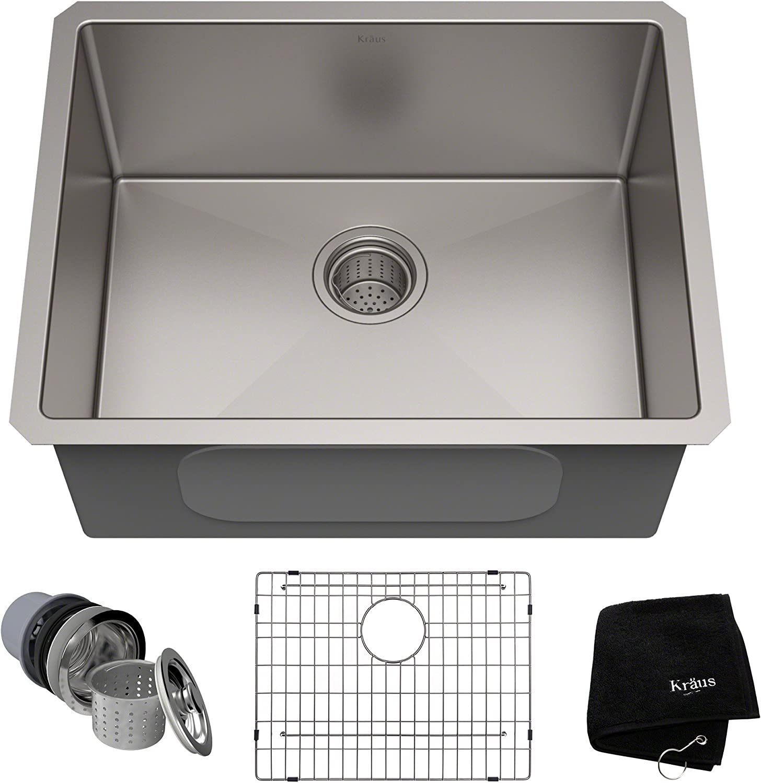Sinkology SK201-23AC-WG-B Renoir with Fuller Grid and Basket Strainer Undermount Kitchen Sink, 23 in x 17.25 in x 8 in in, Antique Copper