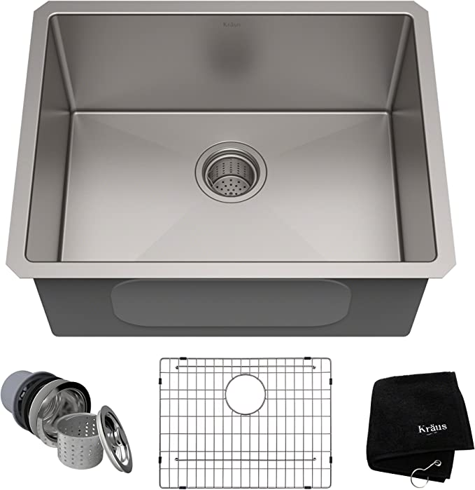 Kraus Standard Pro 23 Inch 16 Gauge Undermount Single Bowl Stainless Steel Kitchen Sink Khu101 23 Amazon Com
