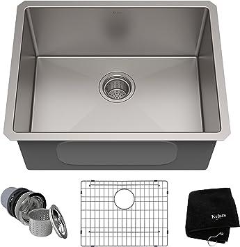 Kraus Standard Pro 23 Inch 16 Gauge Undermount Single Bowl Stainless Steel Kitchen Sink Khu101 23