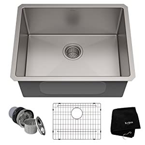KRAUS Standart PRO 23-inch 16 Gauge Undermount Single Bowl Stainless Steel Kitchen Sink, KHU101-23
