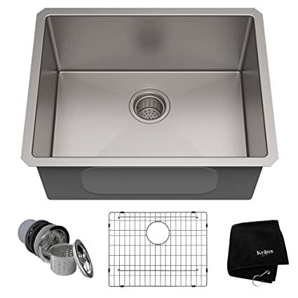 KRAUS Standart PRO 23 Inch 16 Gauge Undermount Single Bowl Stainless Steel  Kitchen Sink,