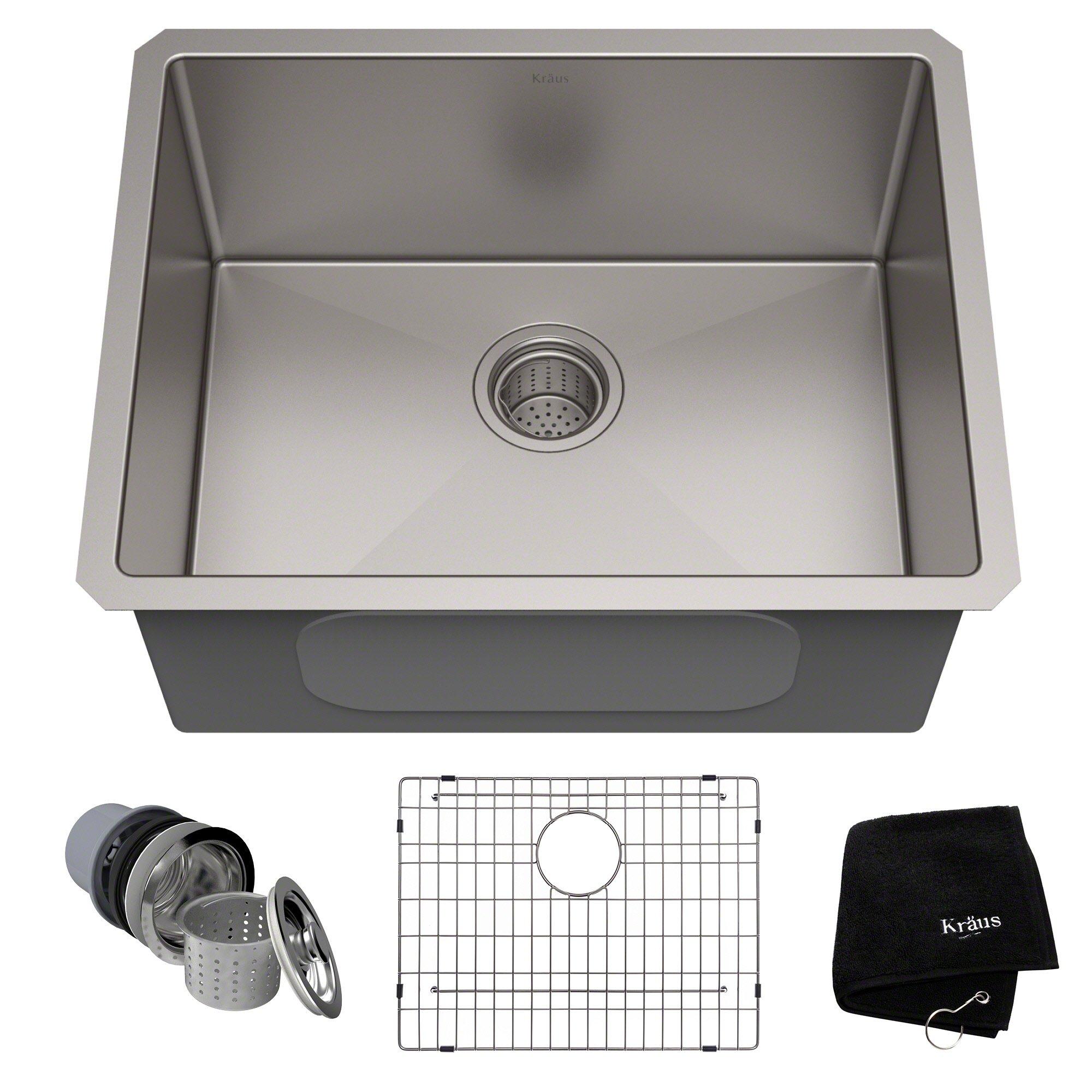 KRAUS Standart PRO 23-inch 16 Gauge Undermount Single Bowl Stainless Steel Kitchen Sink, KHU101-23