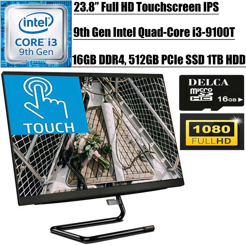 """Lenovo IdeaCentre A340 24 2020 Latest All-in-One Desktop I 23.8"""" FHD Touchscreen IPS I Intel 4-Core i3-9100T(>i5-7500T) I 16GB DDR4 512GB PCIe SSD 1TB HDD I DVD HDMI Win 10 + Delca 16GB Micro SD Card"""