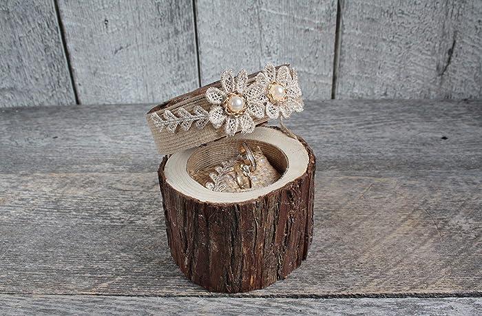 6bff42de29 HANDMADE''Rustic ring bearer pillow, Rustic ring wood box, Champagne ...