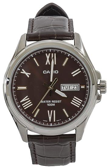 Casio Reloj Digital para Hombre de Cuarzo con Correa en Cuero MTP-1377L-5: Amazon.es: Relojes