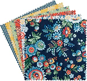 "Connecting Threads Print Collection Precut Cotton Quilting Fabric Bundle 5"" Charm Squares (Kindred Blossoms)"