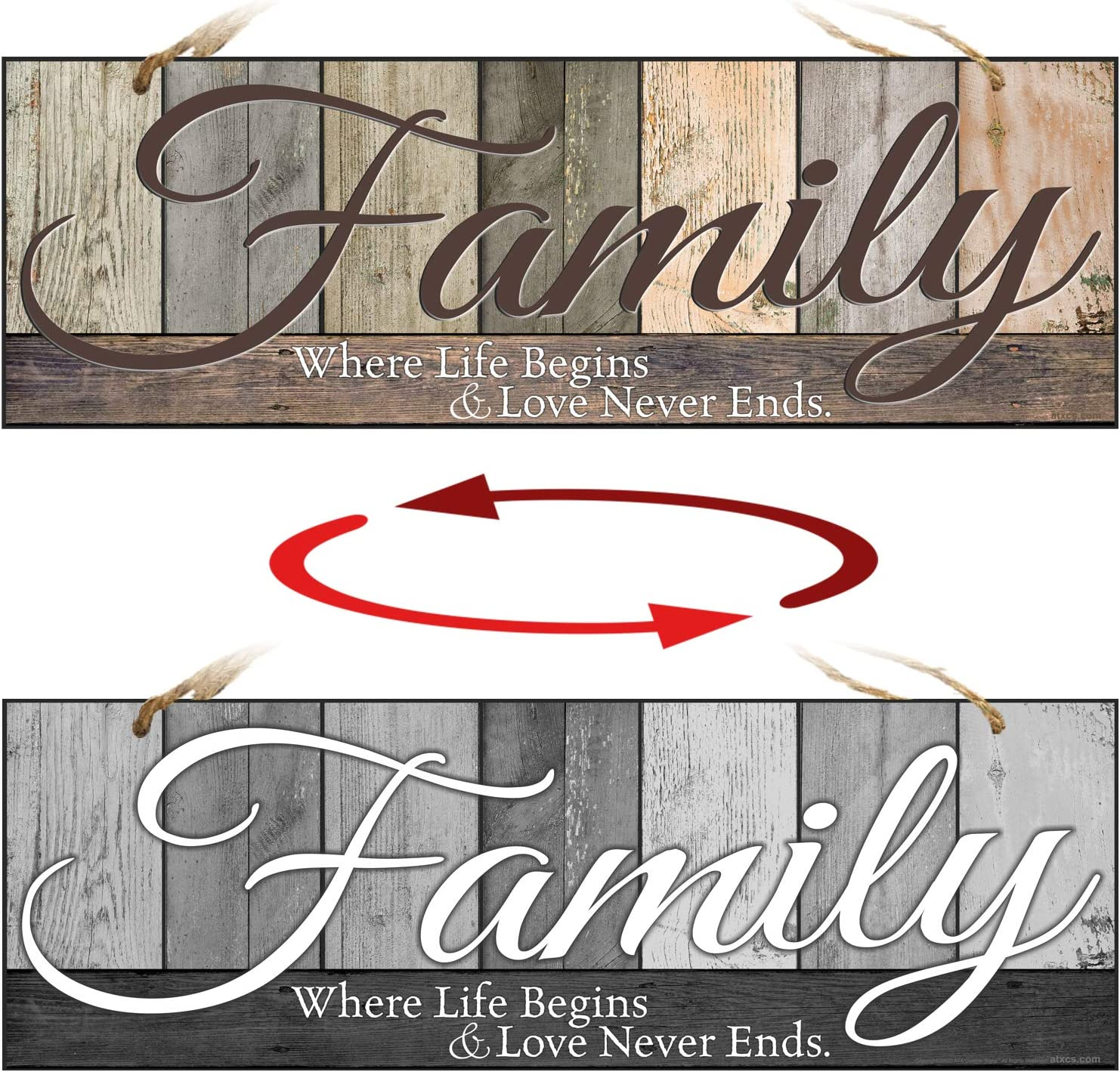 ATX CUSTOM SIGNS - Double Sided Family Sign for Home Decor - Family Where Life Begins and Love Never Ends. Colors and Light and Dark Grays