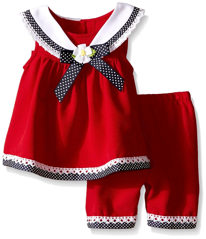 Bonnie Jean Baby Mädchen Sailor Matrosen Tunika Kleid + Hose Rot Weiß Blau