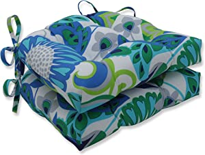 Pillow Perfect Outdoor | Indoor Sophia Turquoise/Green Reversible Chair Pad (Set of 2), 15.5 X 14.5 X 3.5