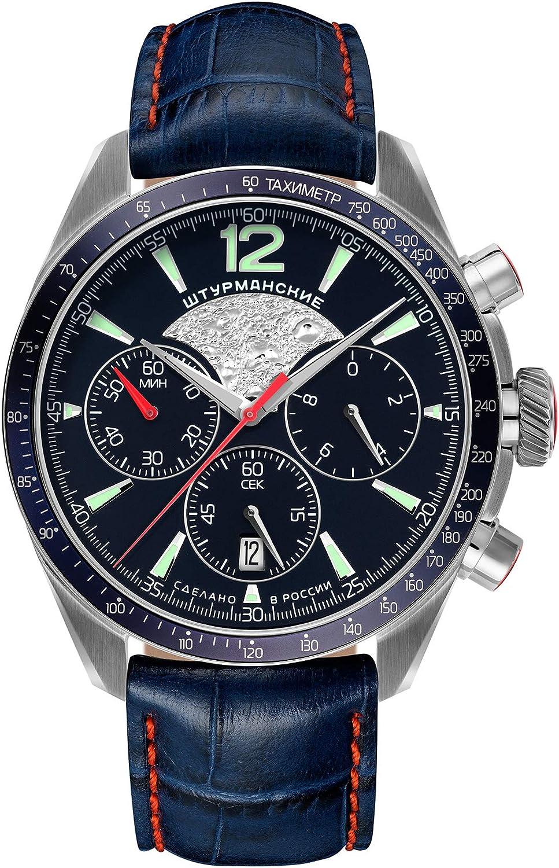 Sturmanskie Luna-25 Moon-25 - Reloj de Pulsera para Hombre con Correa de Piel Azul y cronógrafo 6S20