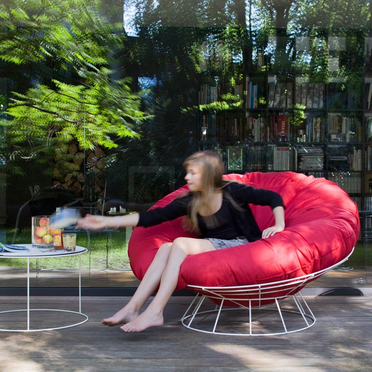 Sitting Bull 140102 Sitzsack mit Gestell Bull's Nest / Outdoor / ø 140 x H 40 cm / rot