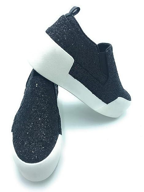Liu Jo Jeans - Zapatillas de Cuero para Mujer Negro Negro Negro Size: 39 EU: Amazon.es: Zapatos y complementos