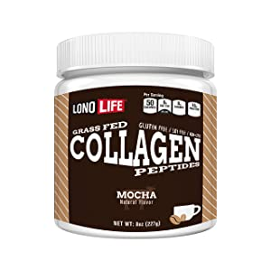 LonoLife Mocha Collagen Peptides with 10g Protein, Paleo and Keto Friendly, 8-Ounce Bulk Container