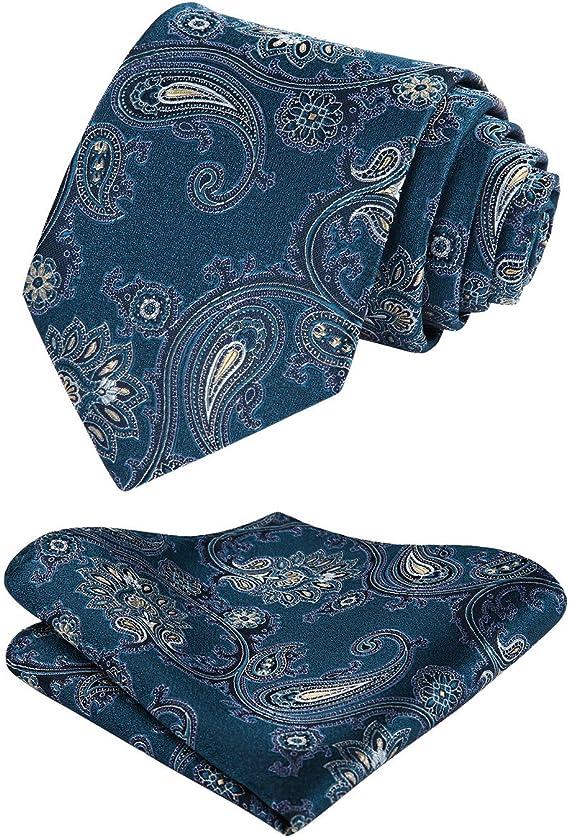 HISDERN Herren Krawatte Taschentuch Paisley Krawatte /& Einstecktuch Set Blumen Jacquard Gewebt Schlips Einfarbig