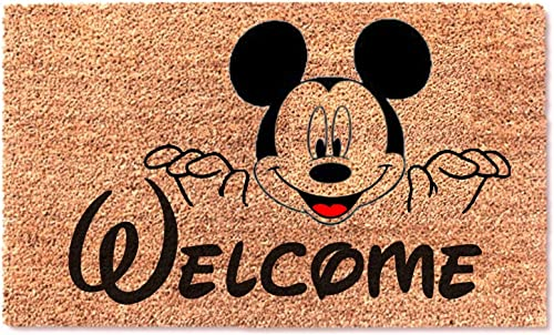 Welcome Cute Mickey Funny Non Slip Doormat – Entryway Outdoor Floor Mat – Easy Clean Home Decor Housewarming Wedding New House Birthday Door Family Rug – Brown Mat with Black Font