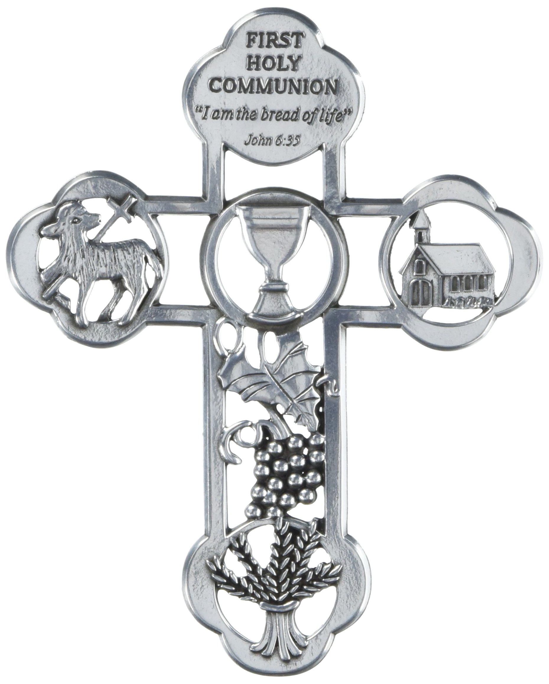 Cathedral Art MC00001 First Holy Communion Symbol Message Cross, 5-Inch