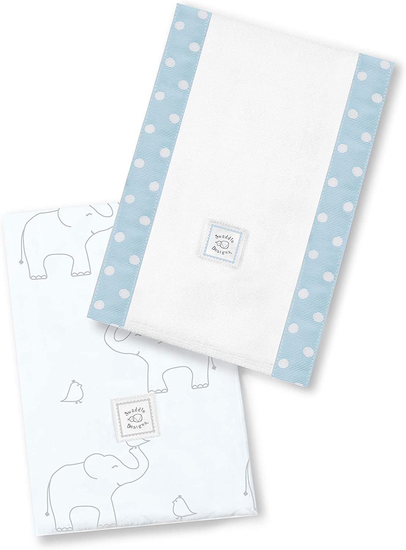 Set de 2 Linges Prot/ège /Épaule Coton SwaddleDesigns Baby Burpies Deco /Él/éphants Gris Argent/és sur Bleu Clair