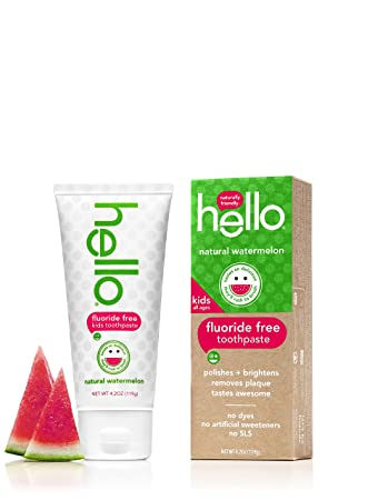 Amazon.com : Hello Oral Care Kids Fluoride Free and SLS Free Toothpaste, Natural Watermelon, 4.2 Ounce : Beauty
