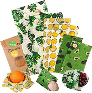 ANGMLN Beeswax Food Wrap & Bags Set of 6 Including Wraps 3 Pack & Bags 3 Pack Reusable Sustainable Durable Eco-Friendly Organic Food Wrap, Plastic Wrap Alternative for Food Storage