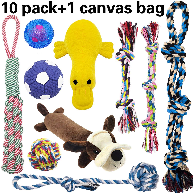 MLCINI Dog Toys Interactive Rope Dog Toys tug of war Large Dog Toys Cute Plush Dog Squeaky Toys IQ Balls,Dog Toy Pack Dog Toys for Small Medium and Large Dogs Dog Gifts 10 Set with Bonus Storage Bag