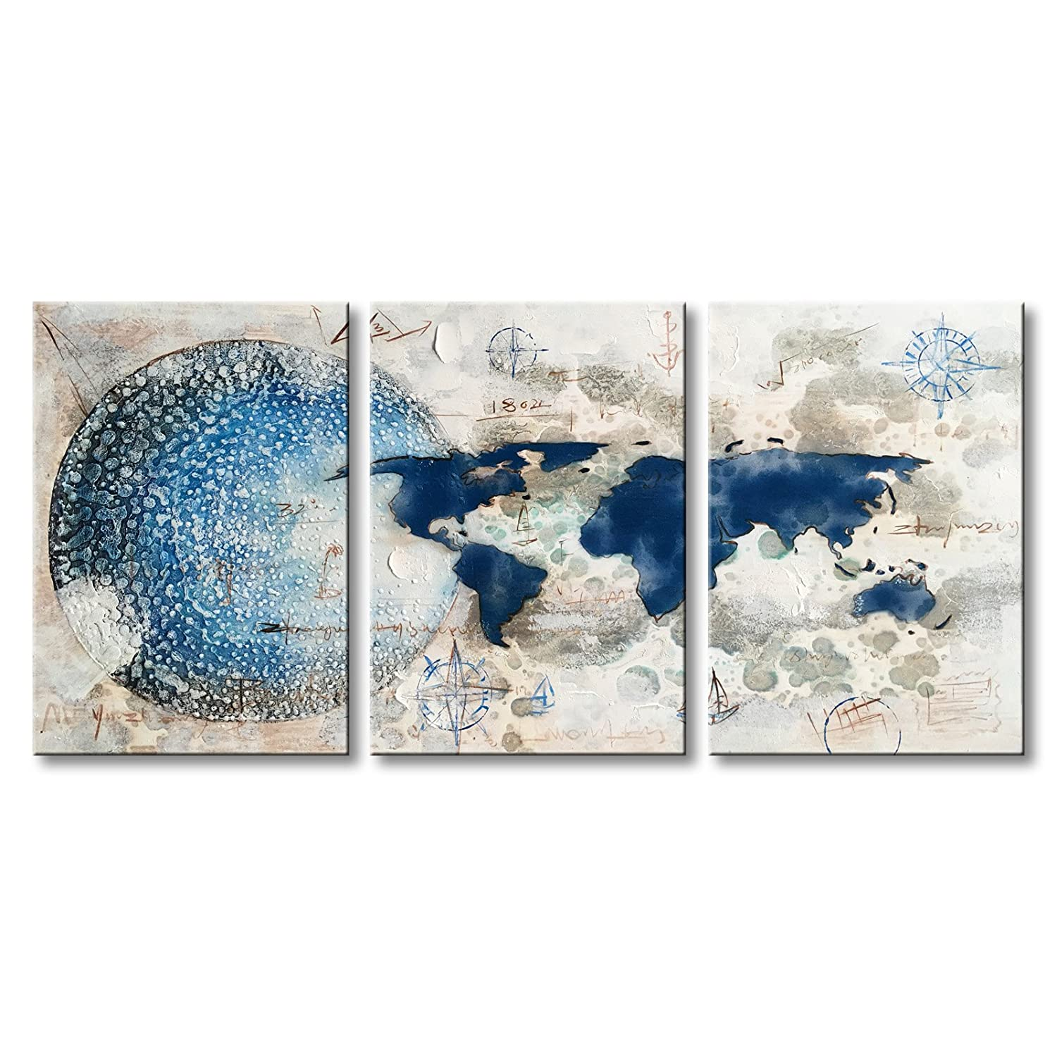 Amazon com everfun hand painted canvas painting world map decor modern 3 piece wall art blue and white abstract gallery artwork framed ready to hang