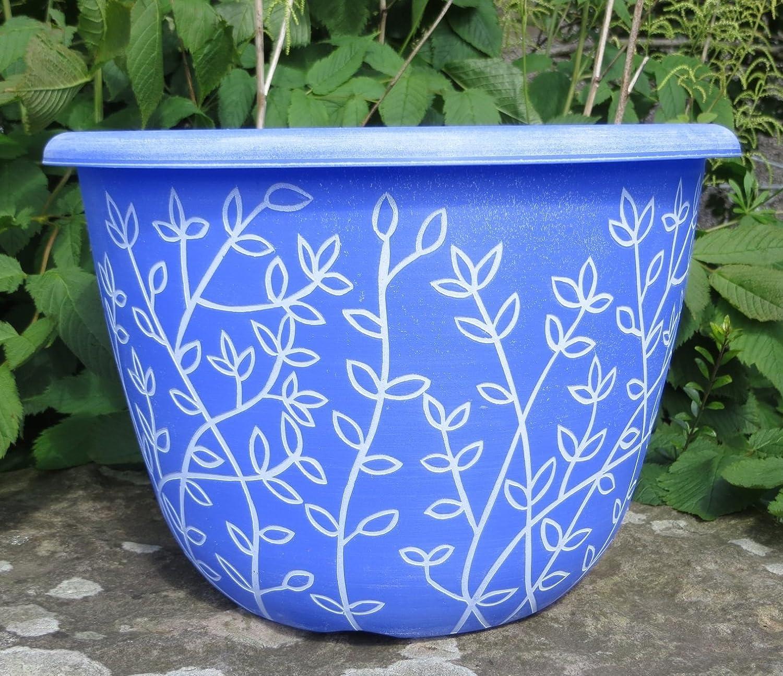 Plant Pots Planters Chengdu Patio Pot Plastic Round Planter Pot Outdoor 30cm (1x Serenity Planters Blue) Anglo Eastern