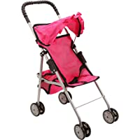 Mommy and Me My First Baby Doll Stroller with Basket, Extra Tall 23 Inch, Foldable Stroller for Toddlers, Hot Pink