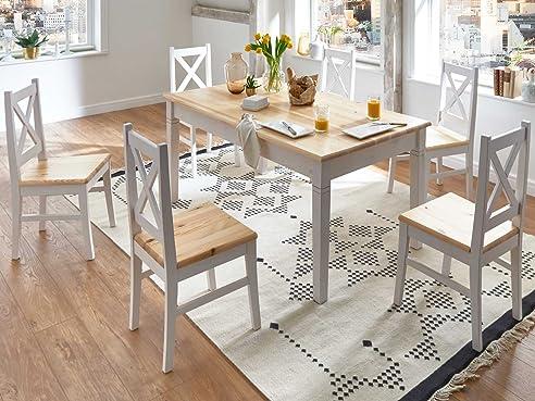 Esstisch stühle weiß landhaus  Essgruppe Essecke weiß Landhaus Bali Esstisch mit 6 Stühlen ...