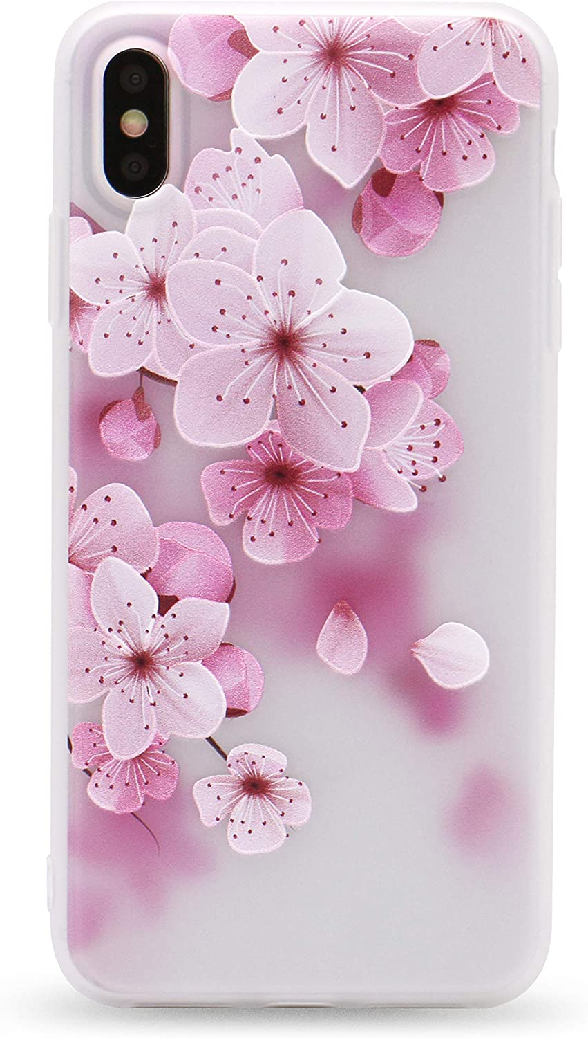 IMIFUN 3D Relief Flower Silicon Phone Case for iPhone X,6,6 Plus, 6S,6S Plus, 5,5S,SE,5C Rose Floral iPhone Cases Soft TPU Cover (for iPhone X)
