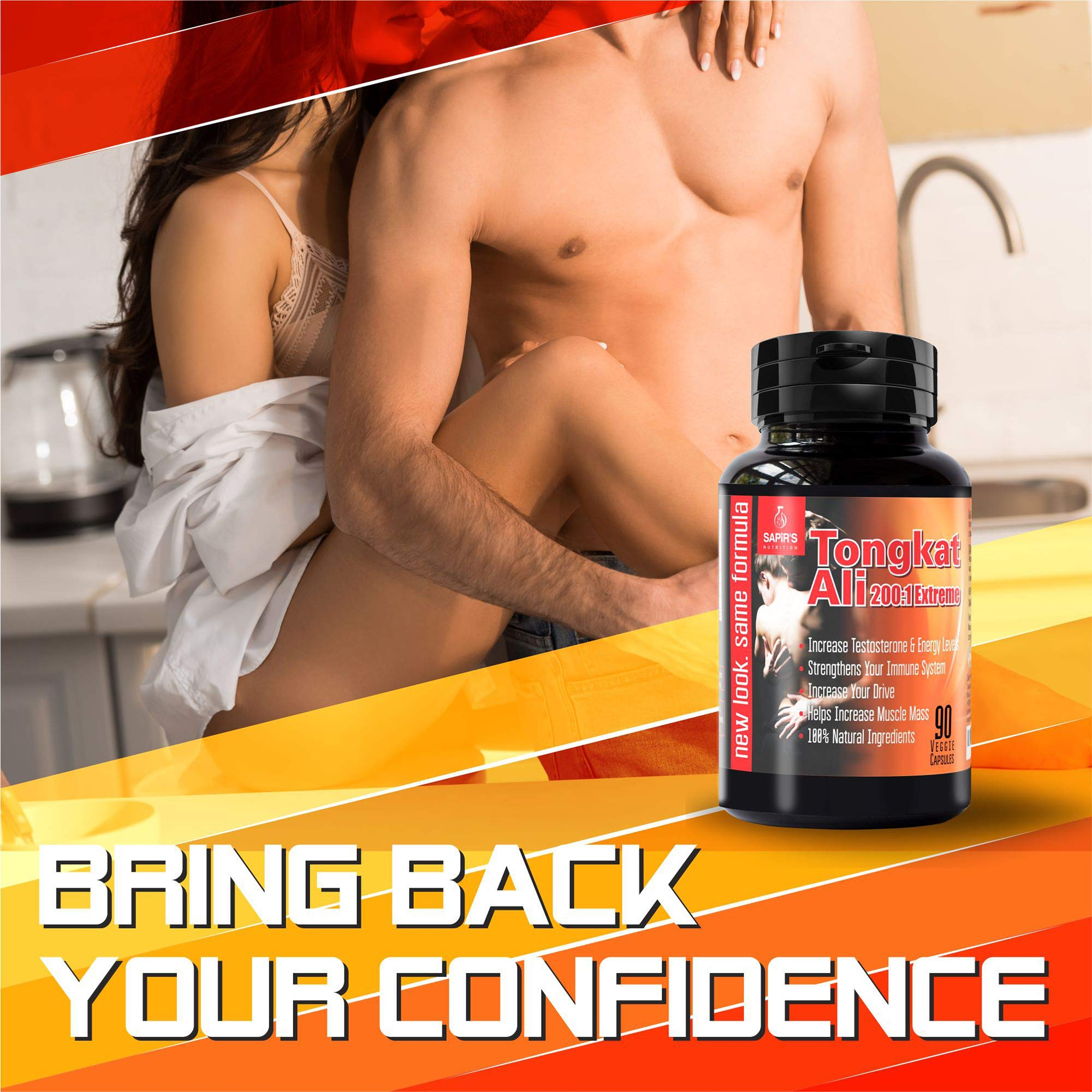 Longjack Tongkat Ali Extract 200 to 1 - Natural Testosterone Booster for Men, Libido Booster for Men, 3000mg Daily 90 Tongkat Ali Capsules, Increase Stamina, Energy, Muscle Growth, Blood Flow