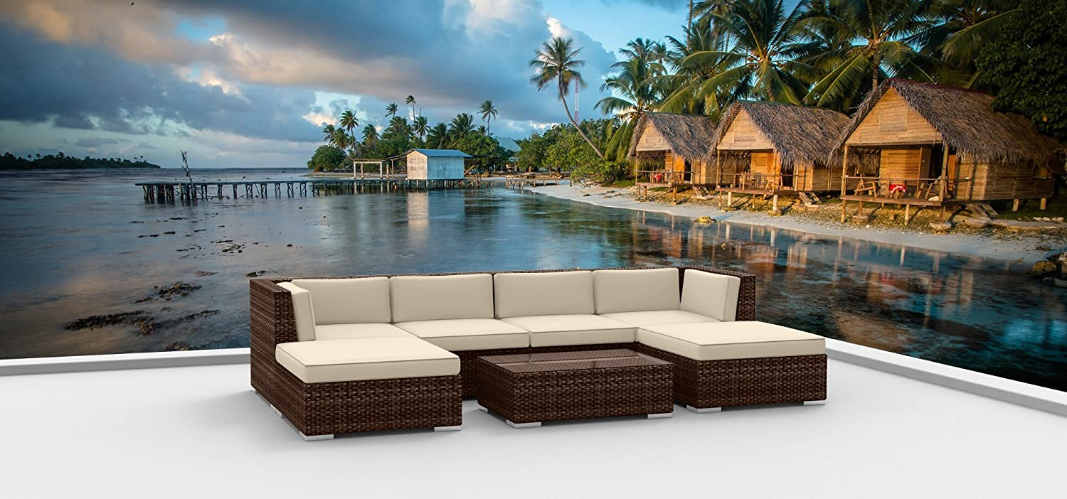 Urban Furnishing.net – Brown Series 7a Modern Outdoor Backyard Wicker Rattan Patio Furniture Sofa Sectional Couch Set