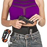 Belly Holster CONCEALED Neoprene Band - Elastic Gun Waistband Holster CARRY for your SECURE LIFE for Pistols Revolvers Glock Ruger +Laser|XL Storage 4 pockets|2 Magazines Mag|100% Satisfection +Gift