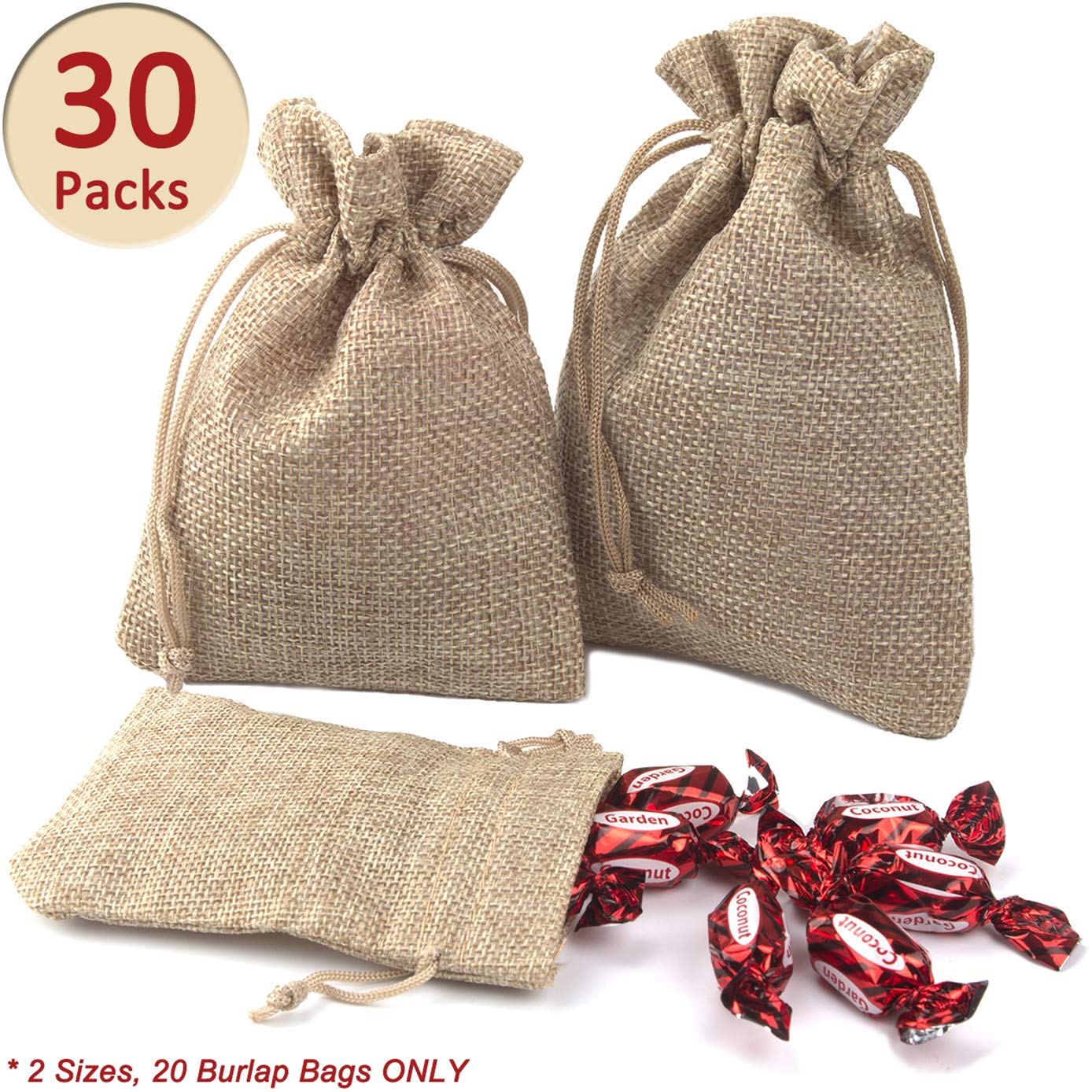 ADVcer Burlap Bags with Drawstring Set, 4.8 x 3.5 and 5.5 x 4, Sacks 30 for Small Favor, Gift, Treat, Goodie, Party, Jewelry, Little Sachet, Coffee Bean, Mini Decor, Craft, Candy, Tea Storage (Linen)