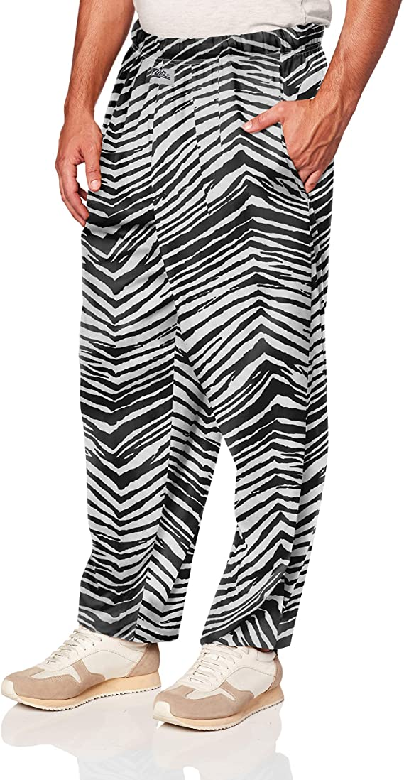 80s Mens Jeans, Pants, Parachute, Tracksuits Zubaz Mens Classic Zebra Printed Athletic Lounge Pants Black S $19.99 AT vintagedancer.com