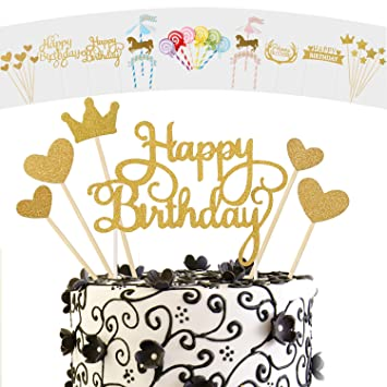 Amazon ANPHSIN Set Of 12 DIY Glitter Happy Birthday Cake