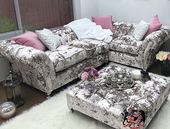 low priced b9358 052cf 8 x 8 Feet Large Chesterfield Lusto Velvet Corner Sofa ...