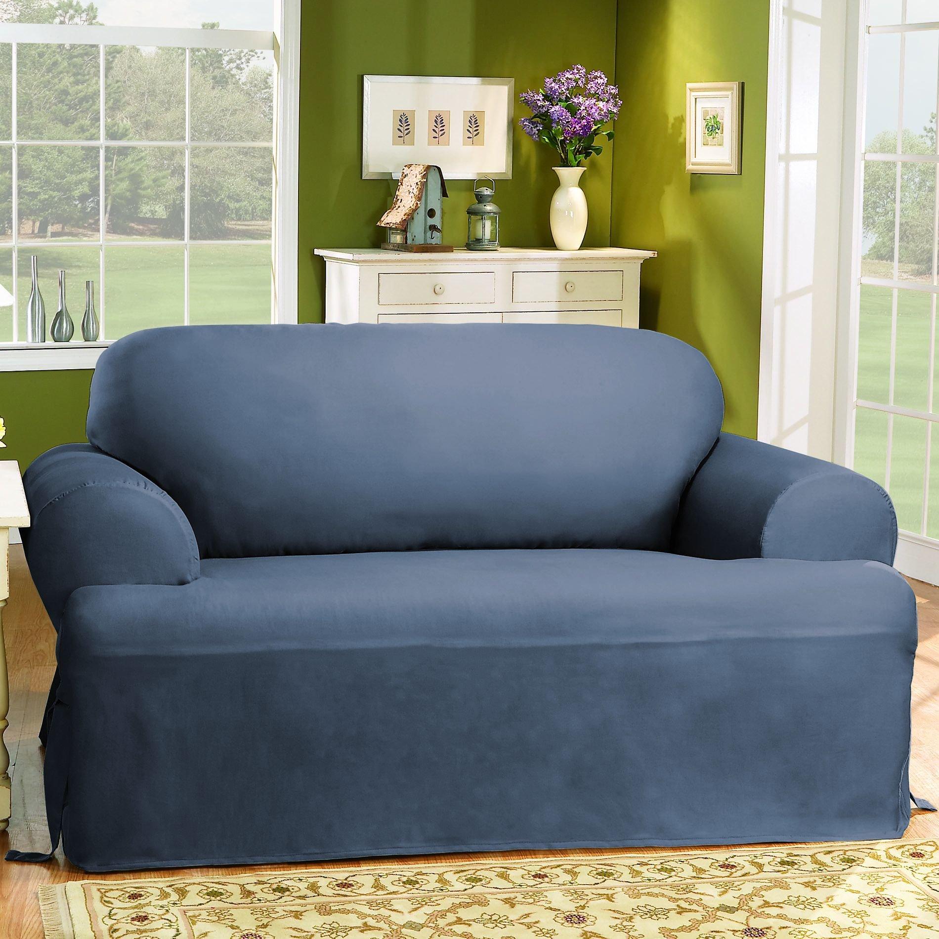 Sure Fit Cotton Duck T-Cushion Loveseat Slipcover, Bluestone by Surefit