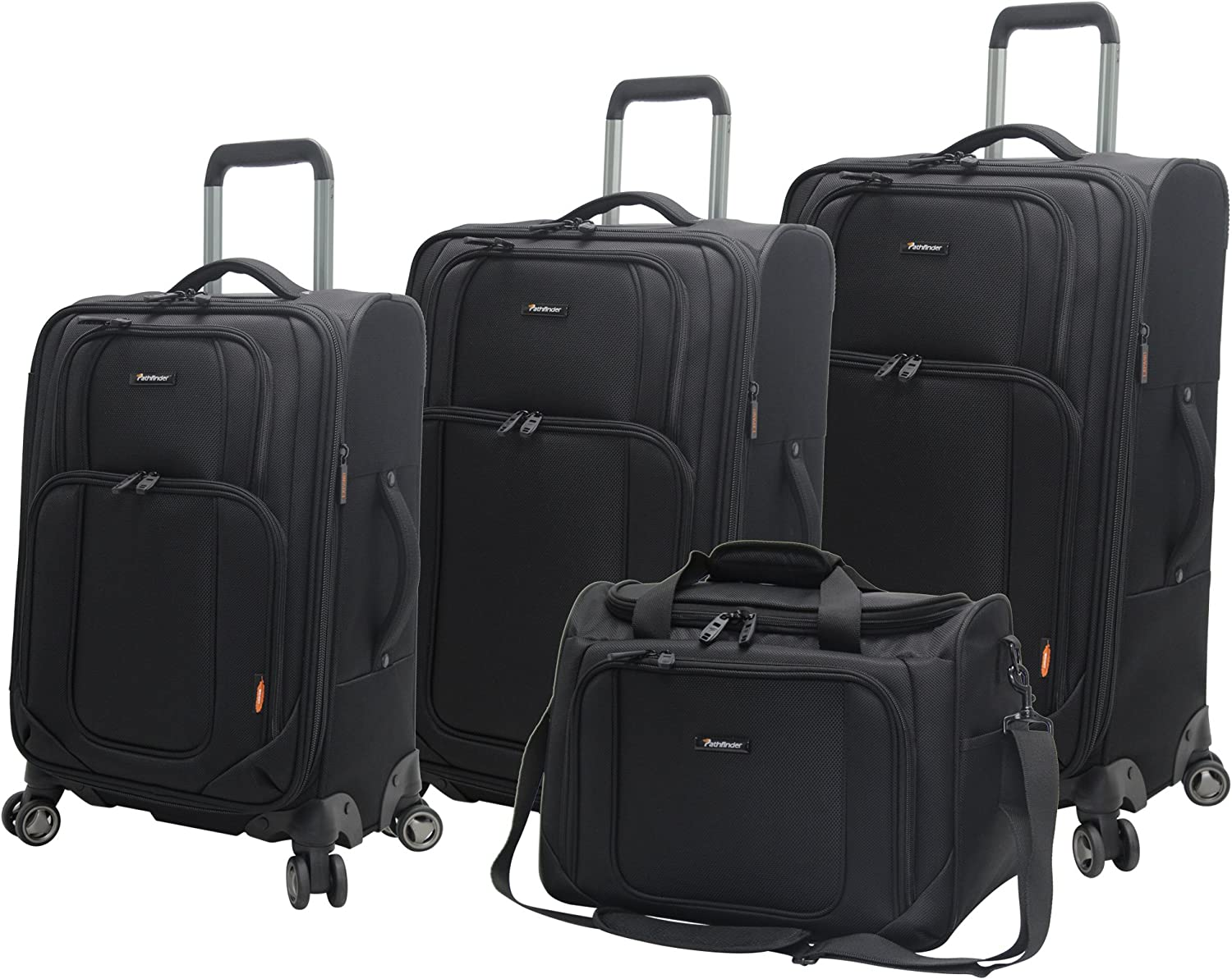 25 and 29 Inch Checked Suitcases 4 Piece Softside Lightweight Spinner Suitcase Set Travel Set includes Tote Bag Black Pathfinder Presidential Designer Luggage 21 Inch Carry on