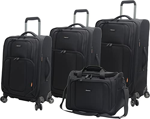 Pathfinder Presidential Designer Luggage – 4 Piece Softside Lightweight Spinner Suitcase Set – Travel Set includes Tote Bag, 21 Inch Carry on, 25 and 29 Inch Checked Suitcases Black