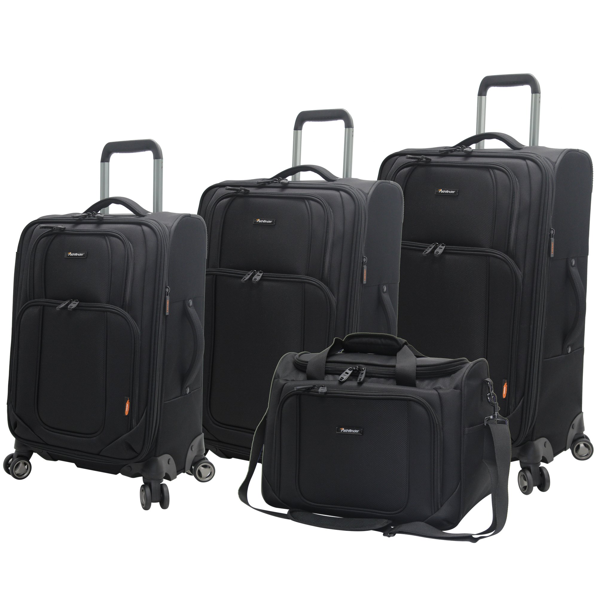 Pathfinder Luggage Presidential 4 piece Spinner Suitcase Set (Black)