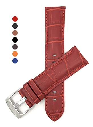 16ee16788 24mm Red Mens' Alligator Style Genuine Leather Watch Strap Band ...