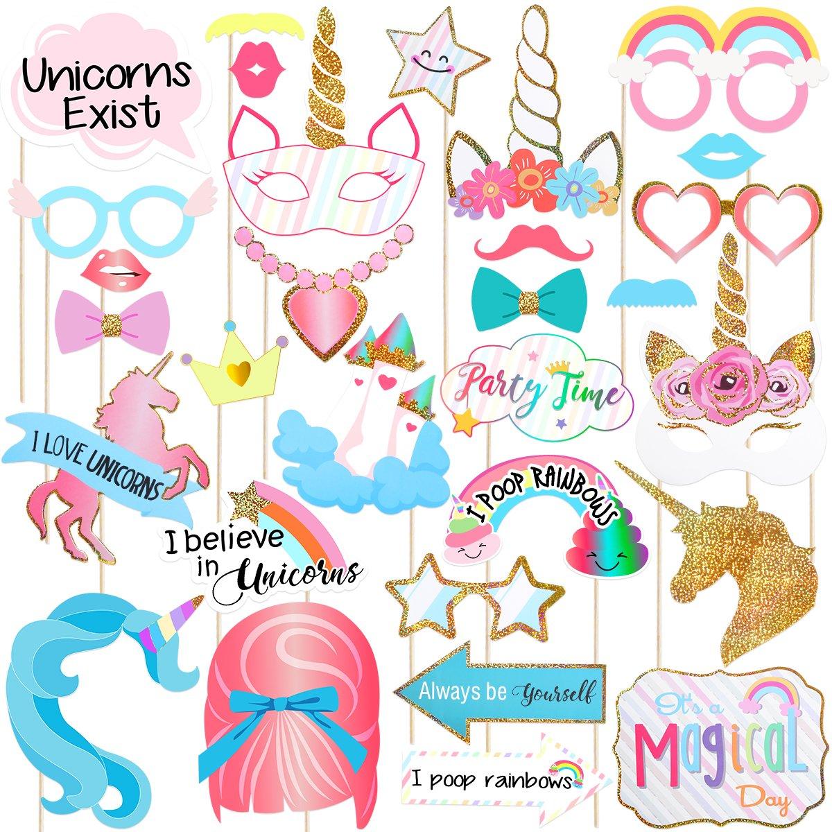 Amosfun Unicornio Photo Booth Props Suministros de Fiesta de cumpleaños Decoraciones Unicorn Baby Shower Party Supplies en un Stick, Pack de 30