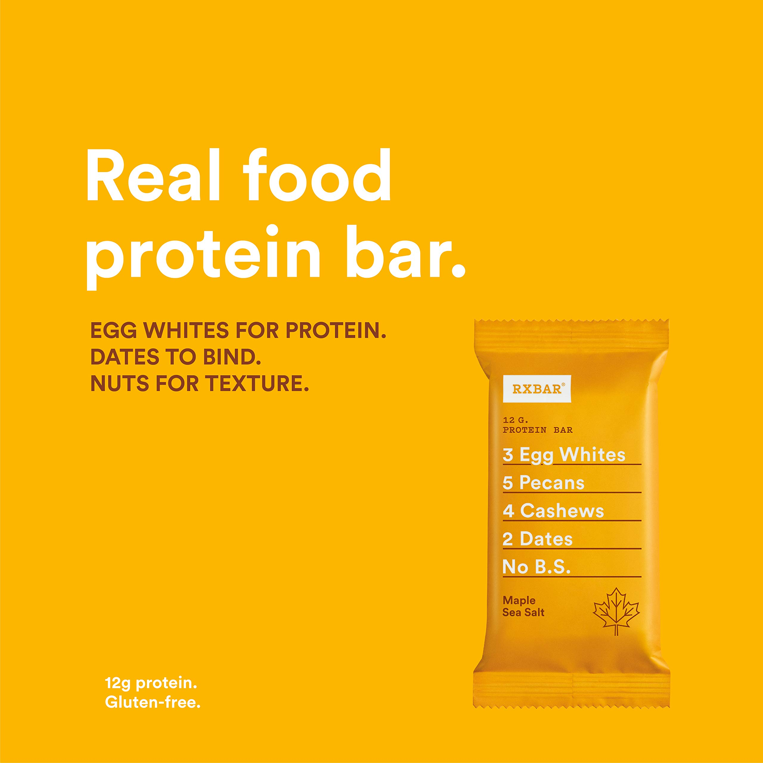 RXBAR Real Food Protein Bar, Maple Sea Salt, Gluten Free, 1.83oz Bars, 24 Count by RXBAR (Image #3)