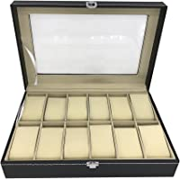Watch Box 12 Slot by House of Quirk for Pu Leather Design Display Case, Large Holder, Metal Lock