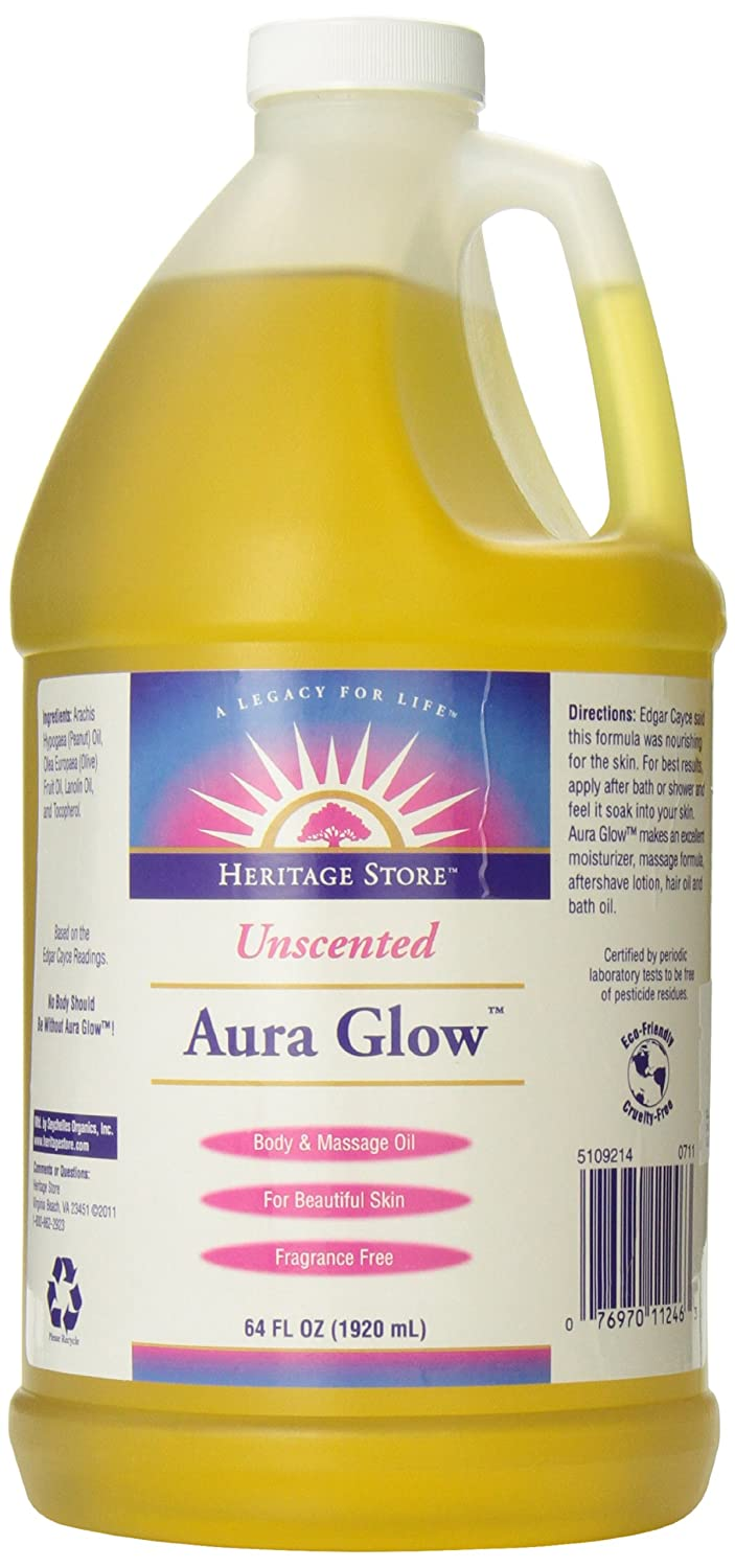 Heritage Store Aura Glow Massage Oil, Unscented, 64-Ounce 076970112463