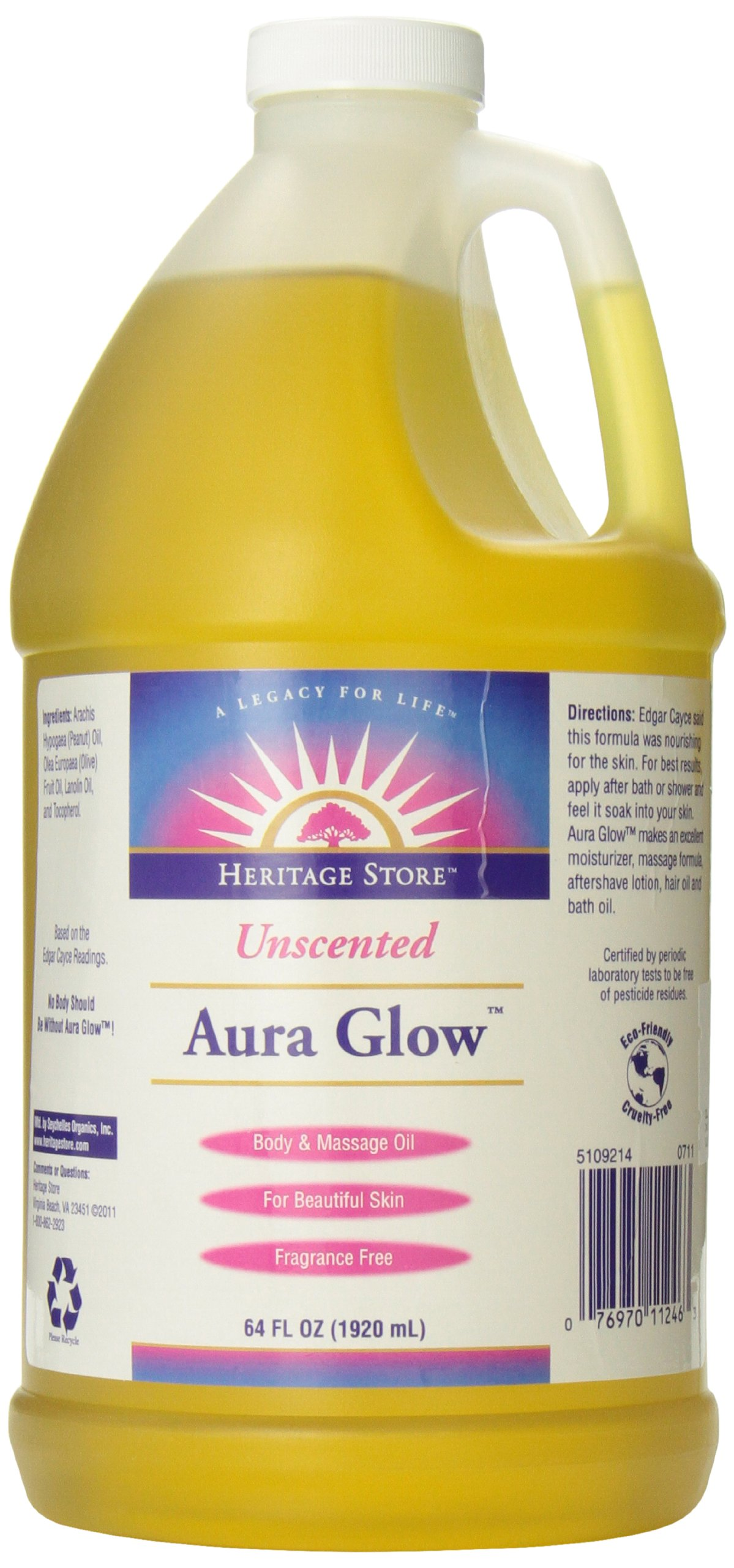 Heritage Store Aura Glow Massage Oil, Unscented, 64 Ounce
