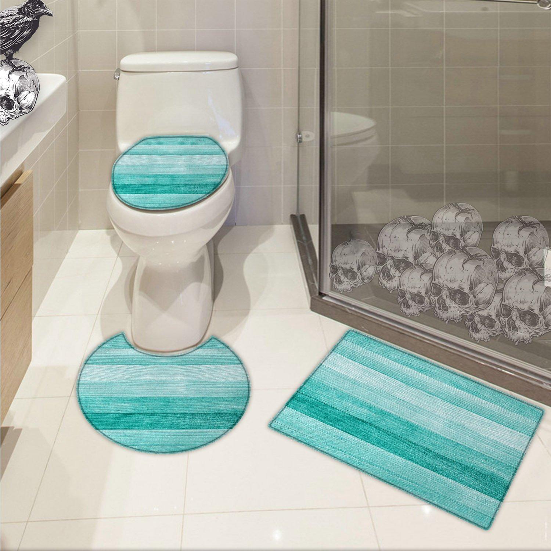 Amazon.com: Teal U-shaped Toilet Floor Rug set Painted Wood Board ...