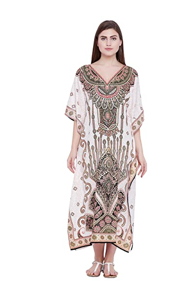 fe6bea525cdc Image Unavailable. Image not available for. Color: Goood Times Cream Paisley  Long Kaftan Kimono Maxi Dress Plus Size Caftan Gown Nightdress Kimono Women