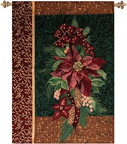 Manual Weavers Winter Poinsettia with Christmas Pine Cotton Tapestry Wall Hanging 36 x 26